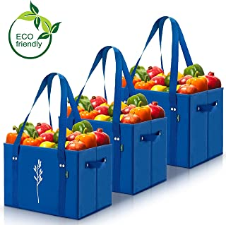 Green BD's Reusable Grocery Bags. Large, Heavy Duty and Spillover Proof. Eco-Friendly Collapsible Shopping Box Bags with Fold Up Reinforced Bottom. (Blue Set of 3)