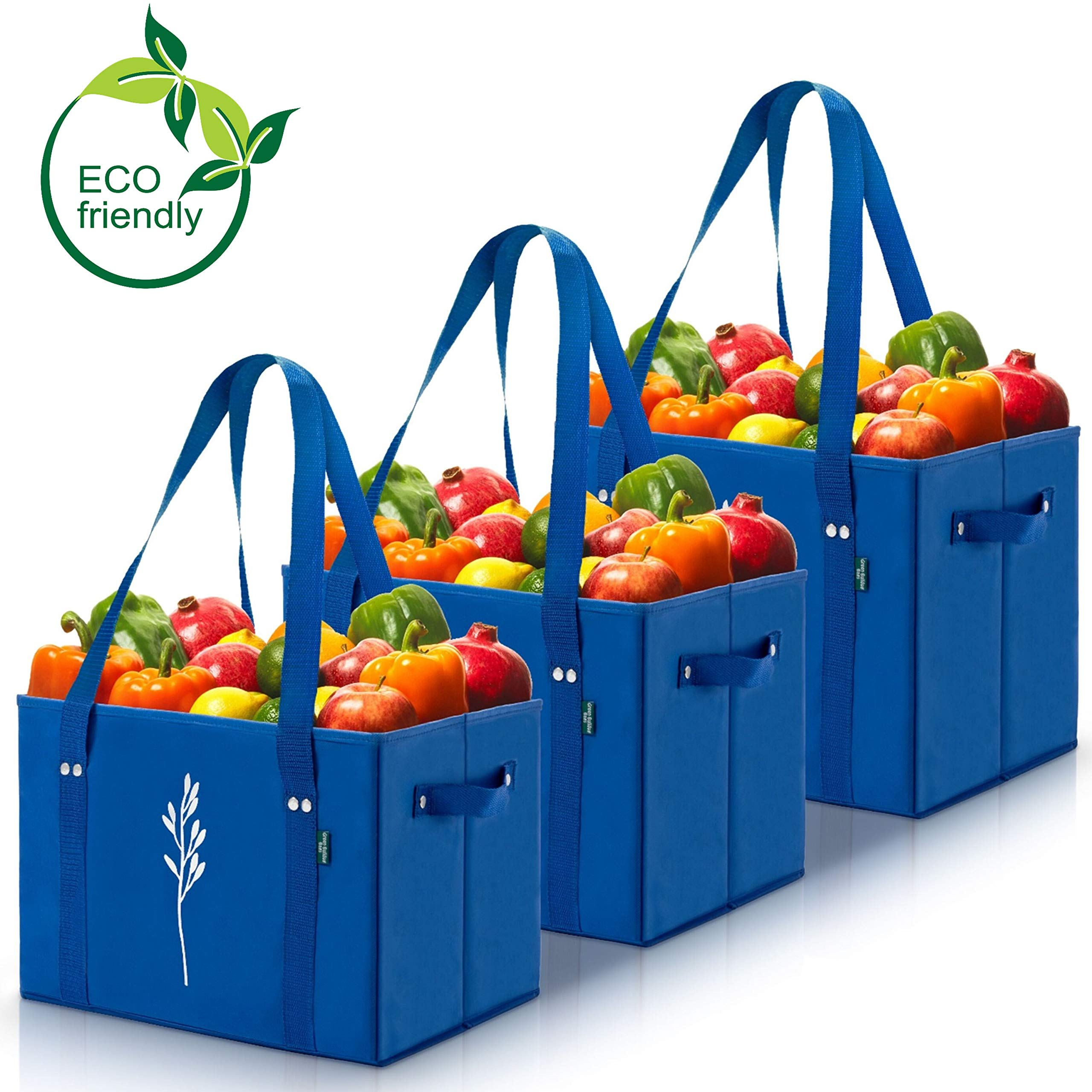 Green Eco Friendly Collapsible Bags Reinforced