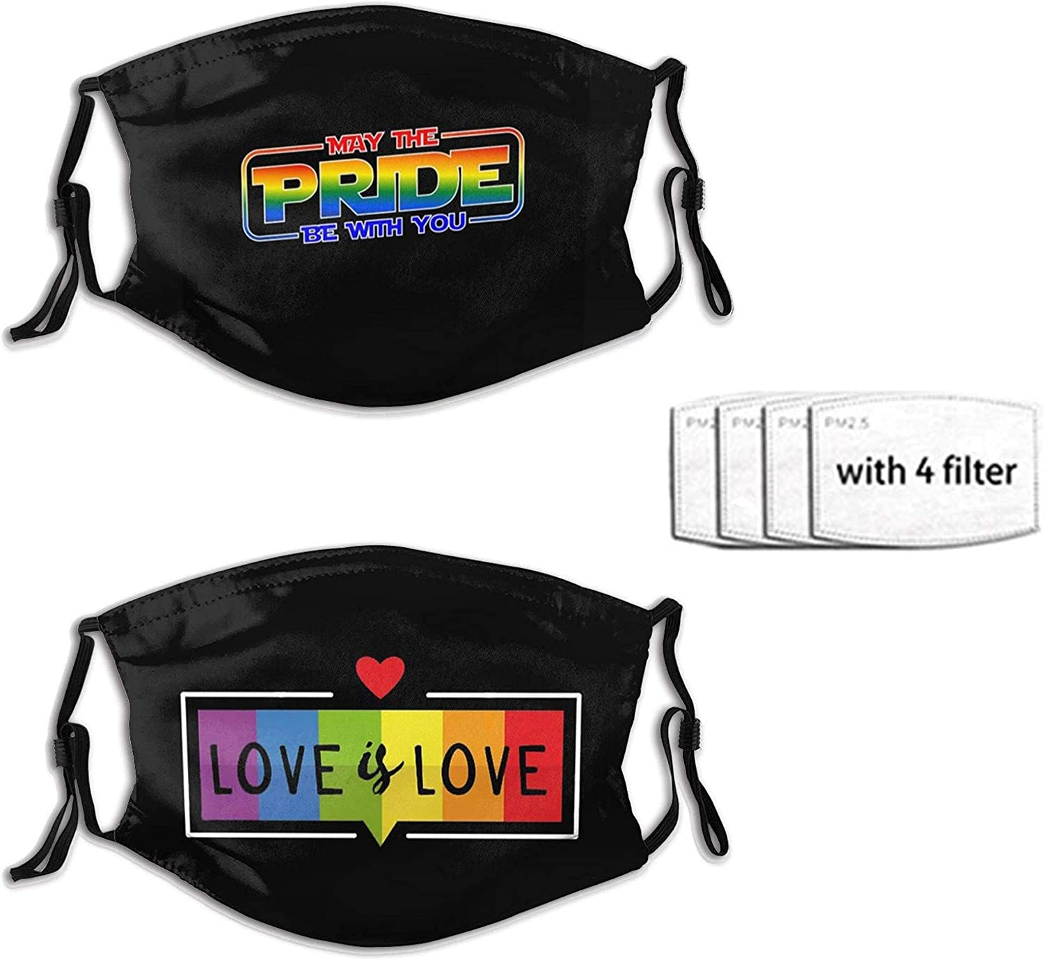 2pcs Lgbt Face Mask Reusable Washable Adjustable Bandanas Fashion Scarf For Adult With 4 Pcs Filters