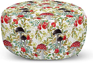 Ambesonne Watercolor Ottoman Pouf, Hand Drawn Dogrose and Mushrooms Autumn Leaves Berries Amantias Nature Inspired, Decorativ