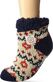 Dearfoams, Women's Plaid or Fairisle Knit Cozy Slipper Sock with Sherpa Cuff. Zapatillas Calcetines de casa de Mujer Dearfoams. Confort y Suave. Talla única.