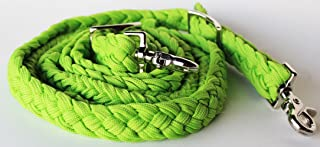 PRORIDER Roping Knotted Horse Tack Western Barrel Reins Nylon Braided Lime Green 60729