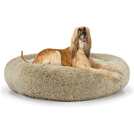 The Dog's Bed Sound Sleep Original Donut Dog Bed, XL Dog Biscuit Beige Plush Removable Cover Premium Calming Nest Bed