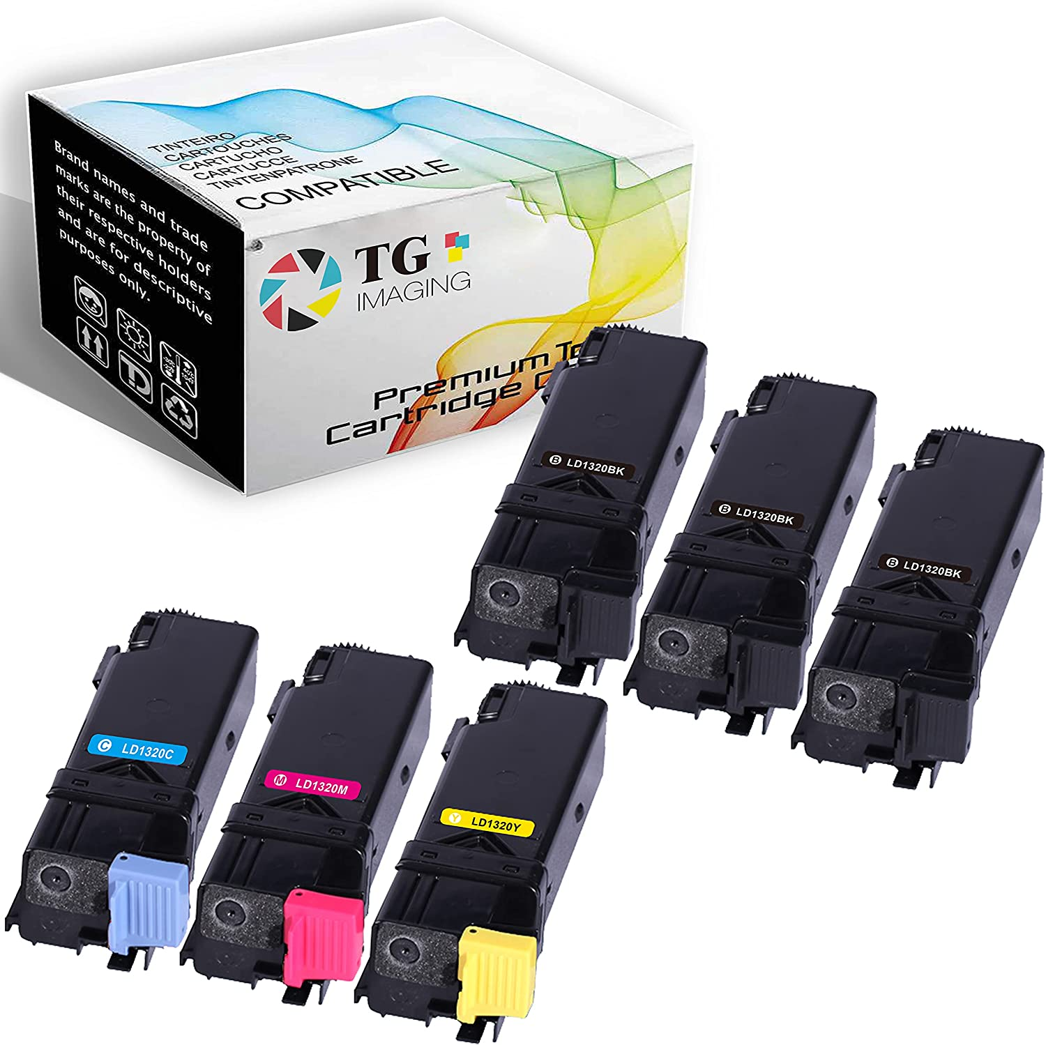 (6 Pack) TG Imaging Replacement for Dell 1320C Toner Cartridge 1320 3B/C/Y/M Color Set Worked with Dell1320 1320C 1320CN Printer