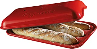 "Emile Henry Made In France Baguette Baker, 15.4 x 9.4"""", Burgundy"