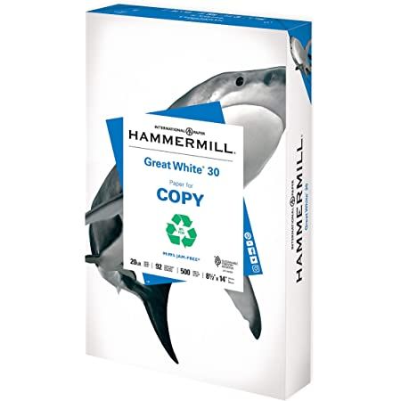 Hammermill Printer Paper, Great White 30% Recycled Paper, 11 x 17-1 Ream (500 Sheets) - 92 Bright, Made in the USA, 086750