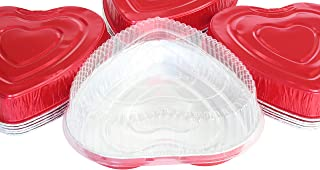 Disposable Aluminum Heart Shaped Baking/Cake Pan with Clear Plastic Lid (10)