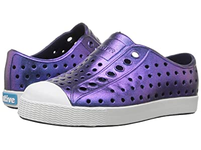 Native Kids Shoes Jefferson Iridescent (Toddler/Little Kid) (Regatta Blue/Shell White/Galaxy) Girls Shoes