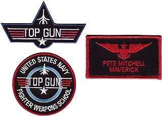 Maverick Top Gun School Name Badge Costume Patch Set (3pc Bundle-Hook Backing)