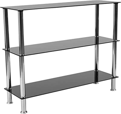 """Flash Furniture Riverside Collection 3 Shelf 31.5""""H Glass Storage Display Unit Bookcase with Stainless Steel Frame in Black"""