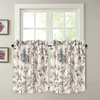 """H.VERSAILTEX Energy Smart Room Darkening Rod Pocket Blackout Curtain Tier Panels Small Window Curtains Multi Size - Vintage Floral Pattern in Sage and Brown - Sold 2 Panels (Each 29""""x 24"""")"""