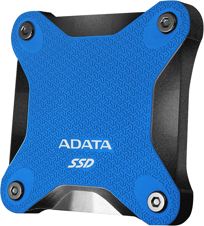 ADATA SD600Q 240GB Ultra-Speed Portable Durable External SSD - Up to 440MB/s -3D NAND USB3.2 Blue (ASD600Q-240GU31-CBL)