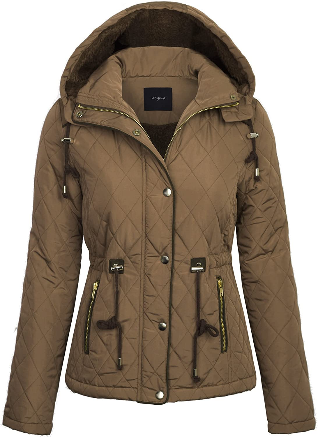 BOHENY Womens Fur Lined Lightweight Zip Up Quilted Jacket with Detatachable Hood