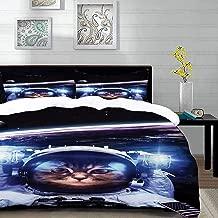 مجموعة الفراش ،قطة ، قطة مضحكة رائد الفضاء فوق الأرض في الفضاء الخارجي إكسبلورر كيتي مهمة فكاهة صورة ، متعدد الألوان ،، غطاء لحاف واحد + وسائد 50 × 80 سم