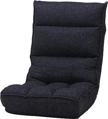不二貿易 座椅子 リクライニングチェア 幅60cm ダークグレー ポケットコイル 肉厚 19986