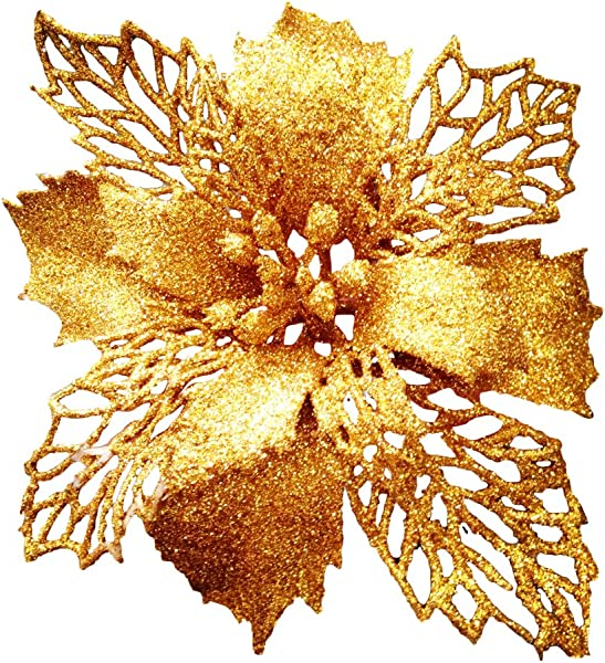 Crazy Night Glitter Poinsettia Christmas Tree Ornaments Pack Of 10 Gold