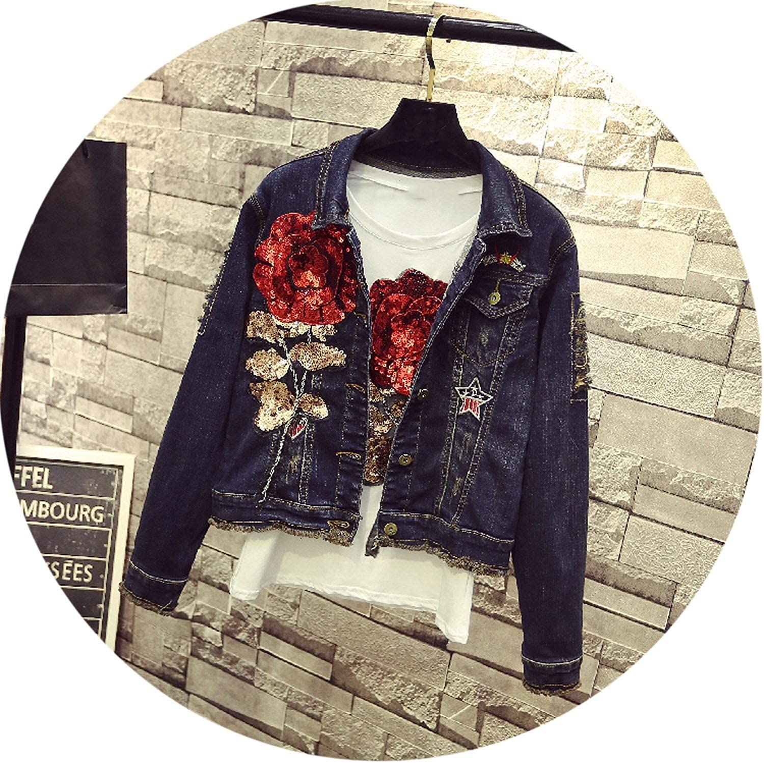 Personality Hole Ripped Red pink Sequin Denim Jacket Long Sleeved Jeans Coat Short Jacket