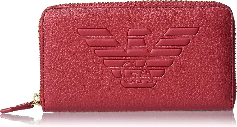 Emporio armani, portafogli da donna, in pelle sintetica, con cerniera e logo grafico, rosso