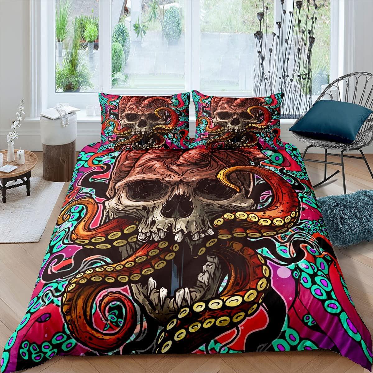 Manfei Sugar Skull Bedding Set 3pcs 全品最安値に挑戦 Boys Kids Teens for Octopus 早割クーポン