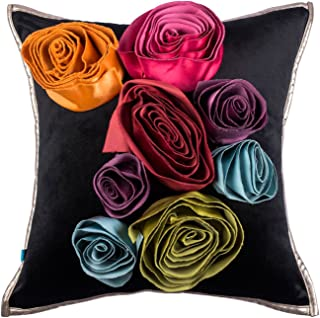 The Pink Champa 3D Glam Floral Soft Fancy Decorative Accent Throw Pillow Cover for Home Décor, 18x18, Black Colorful