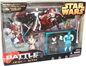 Star Wars Year 2005 Battle Packs Series 5 Pack 4 Inch Tall Action Figure Set - JEDI vs SITH with General Grievous with Blaster Pistol and Blue Lightsaber; Anakin Skywalker with Blue Lightsaber, Obi-Wan Kenobi with Blue Lightsaber; Asajj Ventress with 2 Red Lightsaber and Yoda with Green Lightsaber Plus Bonus Stormtrooper Snap-On Armor, Helmet, Uniform Outfit and Lance
