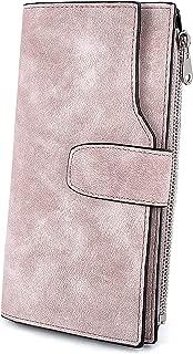 UTO RFID Wallet for Women PU Matte Leather Card Phone Coin Holder Organizer