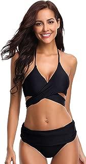 Women's Push-up Halter Bandage Ruched High Waisted Bottoms Bikini Swimsuits