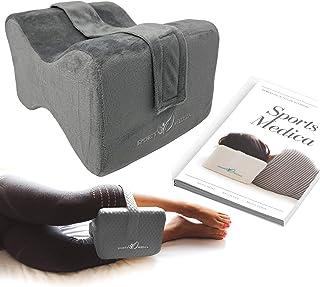 Almohada para las rodillas (gris oscuro) desarrollada por doctores - Cuña ortopédica viscoelástica para dormir de lado, ciática, dolor de espalda baja - Almohada para piernas - Manual incluido
