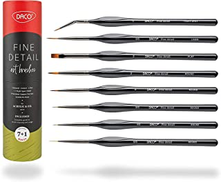 DACO Detail Paint Brush Set, 7pcs +1 Fine Miniature Paint Brushes Kit with Ergonomic Handle, Holder and Travel Bag, for Acrylic, Oil, Watercolor, Art, Scale Model, Face, Paint by Numbers