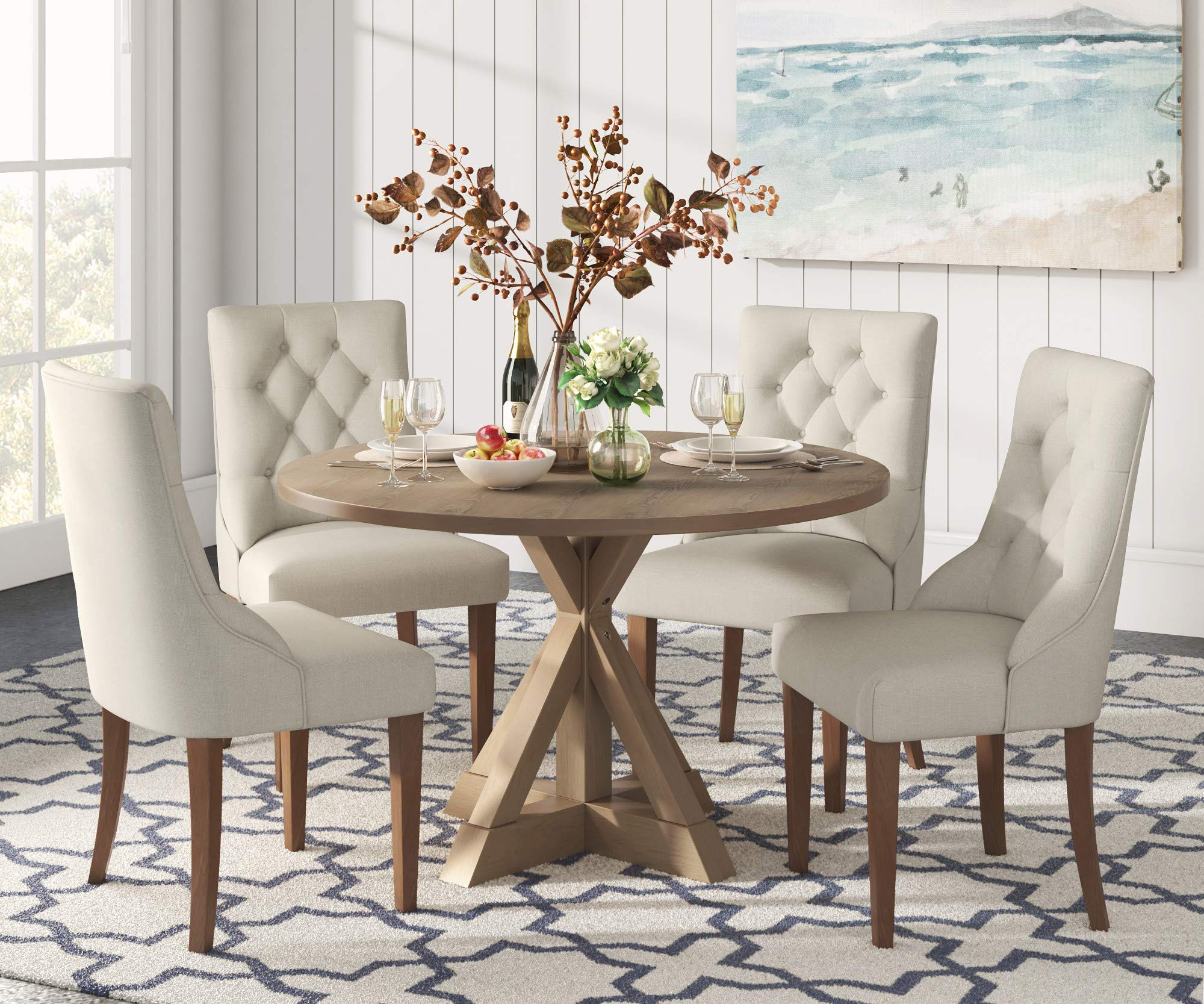 Finch Alfred Round Solid Wood Rustic Dining Table for Farmhouse ...