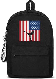 Us Flag Figure Skating Bookbags School Backpack Laptop Schoolbag for Teens Girls Boys High School