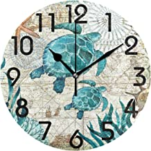 Naanle Vintage Nautical Sea Turtles Starfish Old Map Round Wall Clock, 9.5 Inch Battery Operated Quartz Analog Quiet Desk Clock for Home,Office,School