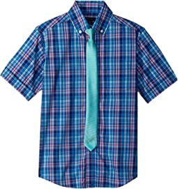 Tommy Hilfiger Kids - Short Sleeve Plaid Shirt w/ Tie (Big Kids)