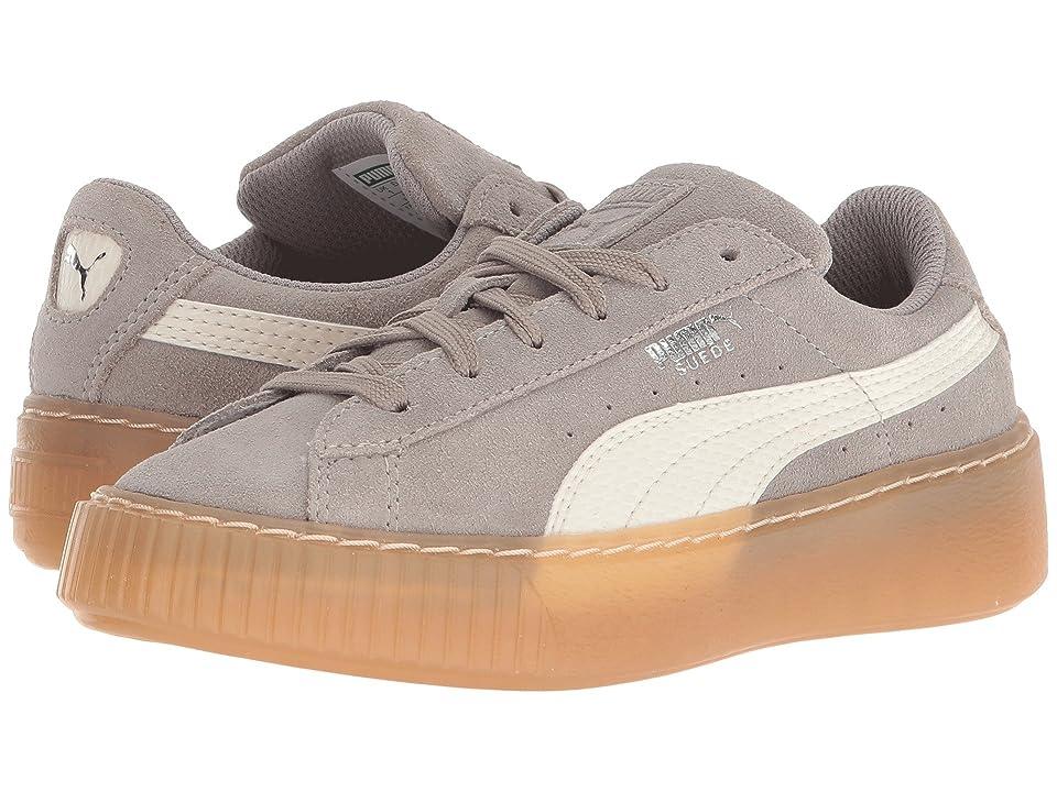 Puma Kids Suede Platform Sneaker PS (Little Kid/Big Kid) (Rock Ridge/Whisper White) Kids Shoes