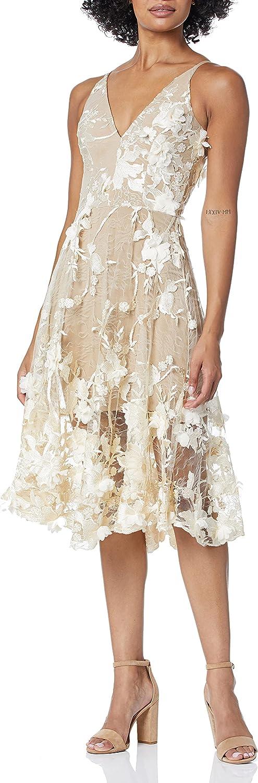 Dress the Population Women's Audrey Spaghetti Strap MIDI A-LINE 3D Floral Dress, Cream/Nude, L
