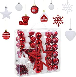 Naler 100 Pieces Assorted Christmas Ball Ornaments Shatterproof Christmas Decorations Tree Balls for Holiday Wedding Party...