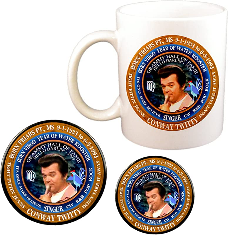Conway Twitty Country Singer Cup Magnet Pin Astrology Virgo Zodiac Water Rooster