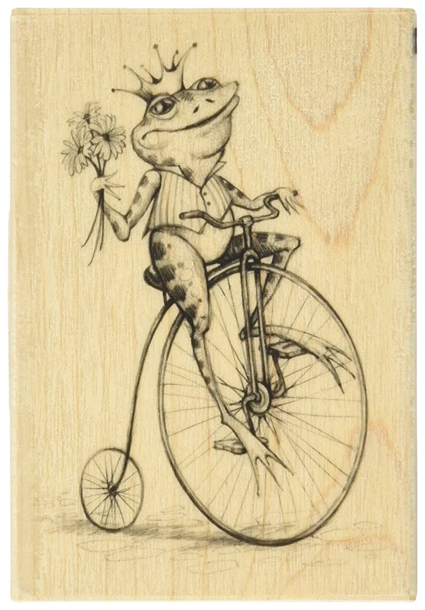 Inkadinkado Frog Prince Wood Stamp for Scrapbooking and Card Making, 2.75'' L x 4'' W
