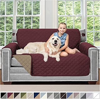 Sofa Shield Original Patent Pending Reversible Loveseat Protector for Seat Width up to 54 Inch, Furniture Slipcover, 2 Inch Strap, Couch Slip Cover Throw for Pets, Kids, Dogs, Love Seat, Burgundy Tan