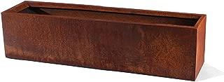 Veradek Metallic Series Corten Steel Rectangular Window Box Planter, 9-Inch Height by 9-Inch Width by 36-Inch Length, Rust (TRHV36CS)