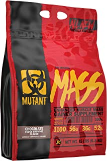 Mutant Mass – Weight Gainer Protein Powder with Whey and Casein Protein Blend for High-Calorie Workout Shakes, Smoothies and Drinks – 15 lbs – Chocolate Fudge Brownie