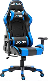 JKOOK ゲーミングチェア オフィスチェア デスクチェア ゲーム用チェア リクライニング パソコンチェア ハイバック ヘッドレスト 腰痛対策 ランバーサポート ひじ掛け付き 高さ調整機能 PUレザー ST01 (青)
