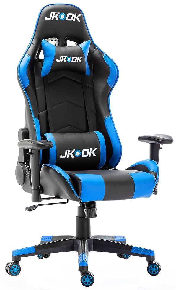 スロープ誘う検体JKOOK ゲーミングチェア オフィスチェア デスクチェア ゲーム用チェア PCチェア ウレタン 快適な座り心地 ひじ掛け付き ランバーサポート PUレザー リクライニングチェア パソコンチェア ST01 (青)