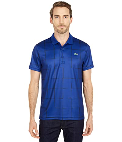 Lacoste Short Sleeve Sport All Over Square Print Polo (Prussian Blue/Black) Men