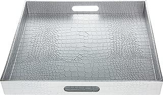 Fantastic:) Square Alligator Serving Tray with Matte Finish Design (1, Square Alligator Silver)