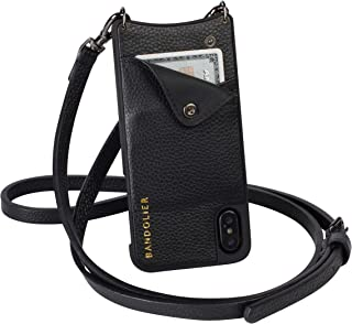 Bandolier Emma Crossbody Phone Case and Wallet - Black Leather with Pewter Detail - Compatible with iPhone 8, 7, 6 Only