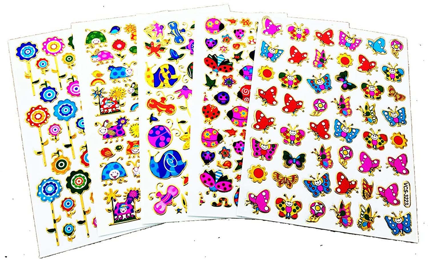 Fancy! Mix Butterfly, Flowers and Lady Bug Colorful Sparkle Sticker-5 Sheet
