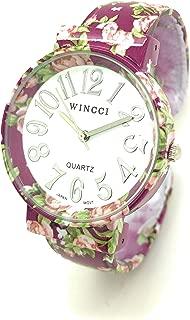 Ladies Elegant Floral Flower Metal Bangle Cuff Fashion Watch White Dial Wincci