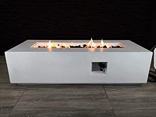 Century Modern Outdoor Fire Pit for Outdoor Home Garden Backyard Fireplace [CM-1009] (White Stone Finish - External Tank)