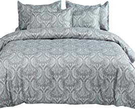 MIMONG Duvet Cover Set with Zipper Closure,Blue&Light Grey Paisley Ethnic Pattern Floral Print Design,Soft Microfiber Bedding,Queen/Full Size(90